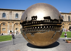Huge globe statue in the courtyard of The Basilica of Saint Peter (San Diego Shooter) Tags: italy vatican rome roma architecture europe vaticancity romaitaly thebasilicaofsaintpeter vaticancityrome nathanruperteurope2011 worldglobestpeterssquare globestpetersbasilica globestatuebasilicaofsaintpeter