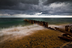 Superior Weather (ETCphoto) Tags: beach rain clouds rocks waves action michigan pilings heavy distance whitefishpoint lksuperior 8063