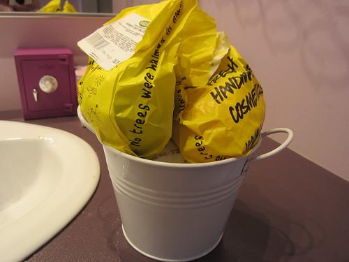 Restocked bucket of Lush