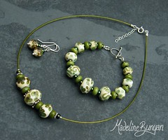 "Olive Green Bead Bracelet, Necklet and Earrings • <a style=""font-size:0.8em;"" href=""https://www.flickr.com/photos/37516896@N05/6194938384/"" target=""_blank"">View on Flickr</a>"