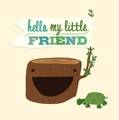 Hello My Little Friend (shawnanonna (Nonna Illustration & Design)) Tags: friends baby nature animals illustration woodland design prints etsy decor shawna nonna nusery stobaugh shawnanonna