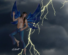 Lightning Storm Fairy (BennettPhoto) Tags: art beautiful digital fly flying photo wings artwork model wing fairy fantasy photograph faery stunning mystical lightning fairies winged fay bennett faerie faeries fae