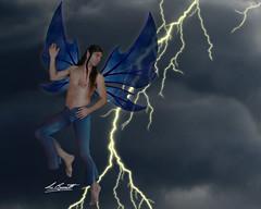 Lightning Storm Fairy (BennettPhoto) Tags: art beautiful digital fly flying photo wings artwork model wing fairy fantasy photograph faery stunning mystical lightning fairies winged fay bennett faerie faeries fae