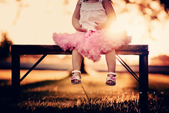 Bench Monday :::: Frilly Little Girl Style ([FIRE eyes]) Tags: pink light sunset summer baby sun feet girl vintage dark fun toddler child sweet bokeh sandals daughter butterflies flare goldenhour pettiskirt hbm benchmonday