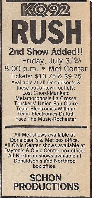 07/03/81 Rush @ Met Center, Bloomington, MN