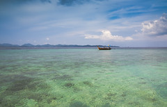 Calm Waters of Khai Nok (Jim Boud) Tags: ocean travel vacation seascape water clouds landscape thailand islands boat asia southeastasia paradise tour speedboat turquoise relaxing vivid wideangle thai woodenboat phuket efs lightroom artisticphotography superwideangle asiapacific shallowwater phuketisland khainok jimboud khainokisland canoneos60d jamesboud canonefs1585mmf3556isusm canon1585mm