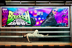 Oldie? ME??! (sahil4731) Tags: sleeping movie poster billboard bollywood roadside asleep advertisment busstand amitabhbachan