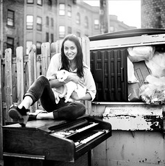 Dagna & Mao Portrait on Hammond 1 (neohypofilms) Tags: city family portrait urban blackandwhite bw woman pet pets white black cute sexy classic love 120 film girl beautiful beauty loving female trash dumpster cat vintage hair keys fun blackwhite wooden junk keyboard shoes long downtown legs antique cleveland piano kitty dump style poland polish retro neighborhood organ 70s clogs heels hippie series medium format 1970s expired hammond platforms swet slingbacks hassalblad neohypofilms cinehypofilms