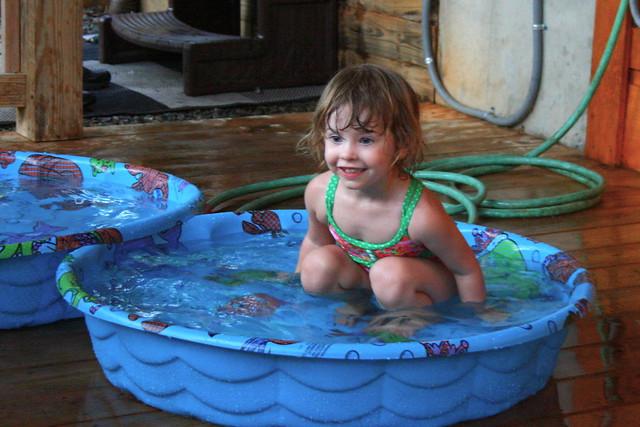 Elly in the splash pools