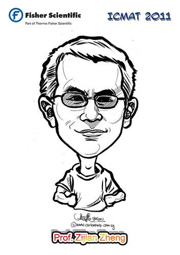Caricature for Fisher Scientific - Prof. Zijian Zheng