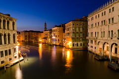 Canale Grande at Night - [EXPLORED] (andreaskoeberl) Tags: longexposure blue venice italy rialtobridge water night lights boat canal nikon bluehour rialto canalegrande 1685 d7000 nikon1685 nikond7000 andreaskoeberl