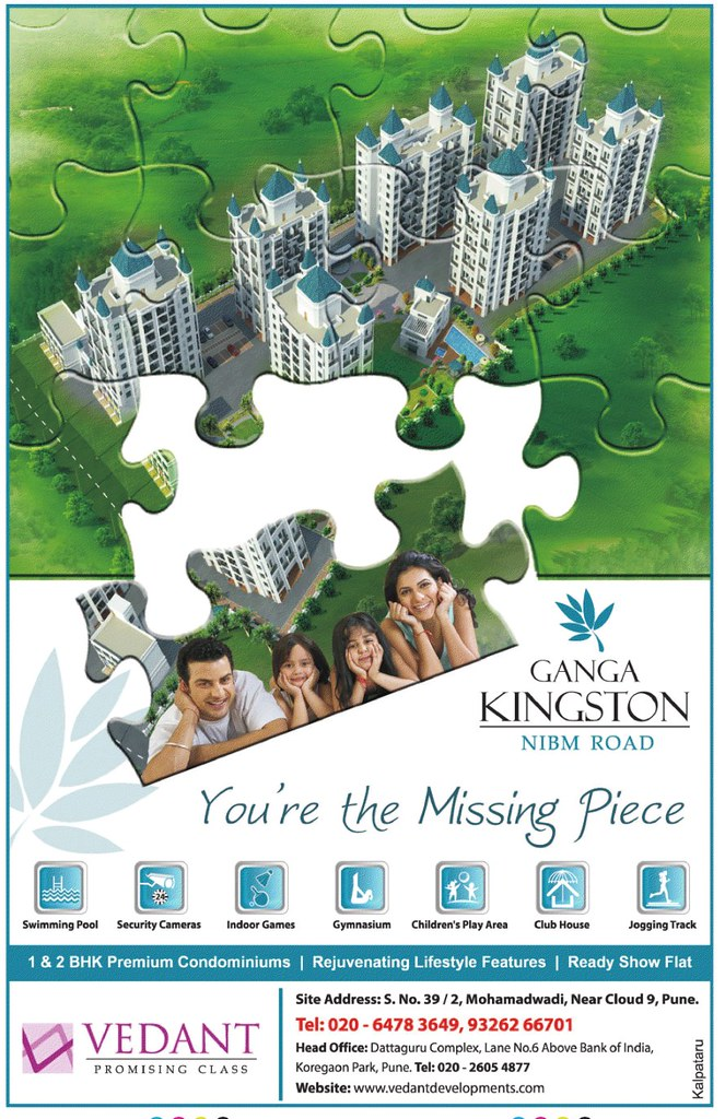 1 BHK & 2 BHK Flats at Mohammodwadi Pune - Ganga Kingston (PT-9-7-11)