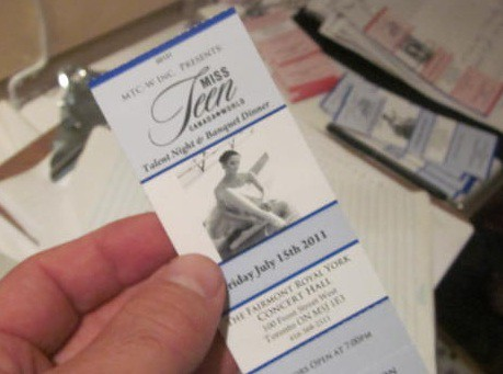 2011 Search for Miss Teen Canada World, ticket to Talent Show in Hotel Ballroom