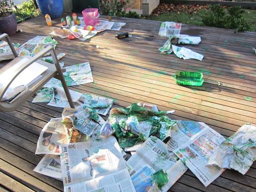 Kids painting mess