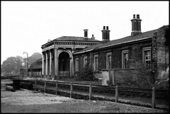 All Gone....... (tatrakoda) Tags: old uk england urban bw building history film monochrome station architecture 35mm geotagged mono town blackwhite br railway lincolnshire analogue grade2 centralstation listed gainsborough lner gcr mslr dn21 hadfieldweightman