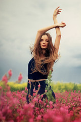 (Kate_Toluzakova) Tags: pink flowers portrait sky nature girl clouds hair belt dress wind air mary               katetoluzakova