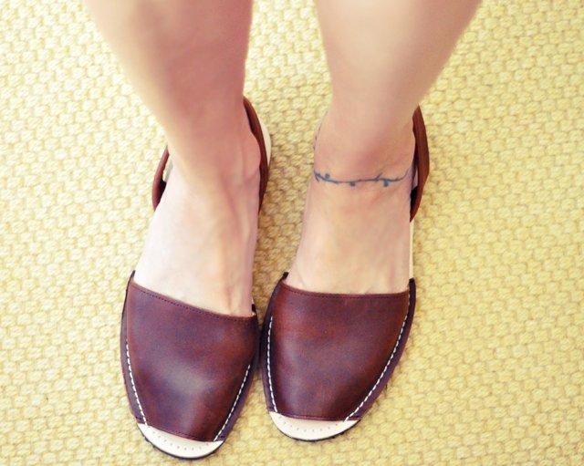 brwon leather sandals