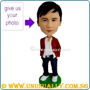 Custom Caricature Trendy Male In Red Jacket Figurine