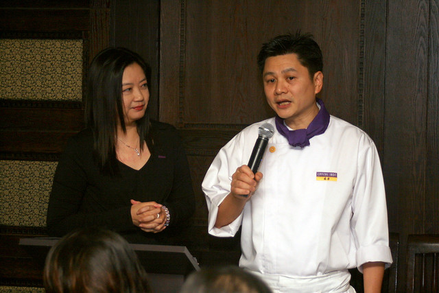 Stella To, Crystal Jade's VP of Corporate Communications and Marketing, with Executive Chef of Crystal Jade Golden Palace