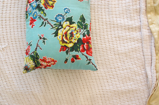 pillow with vintage fabric