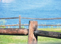 Two Fences, Camden Harbor (Mary Vican) Tags: old blue summer green water grass fence harbor wooden camden country maine newengland aged simple twofences fencefriday