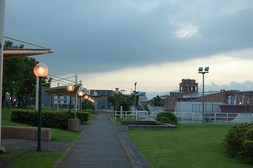 公園的路燈已經開了