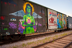 Graffiti Train (Viajante) Tags: woman streetart art train austin graffiti us mural texas unitedstates goddess gaia