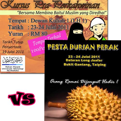 Kursus Pra-Perkahwinan vs Pesta Durian Perak