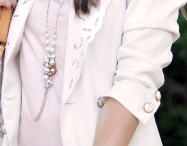 vintage white blazer with lazer cut out lapels and pearl buttons