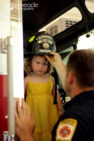 Wearing the fireman's hat