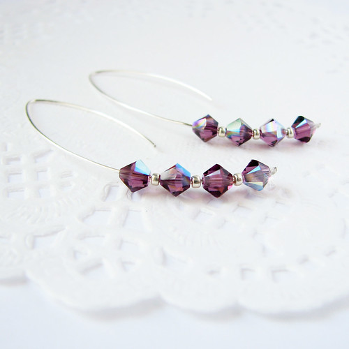 simple modern sterling silver earrings swarovski