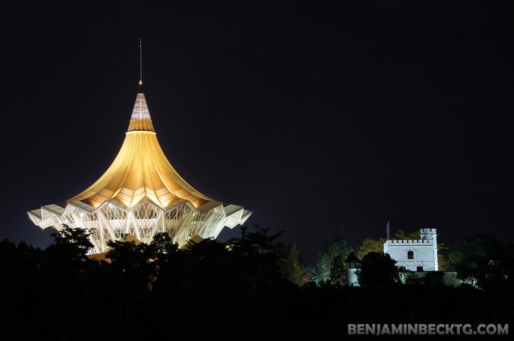 Kuching Waterfront Night Lights
