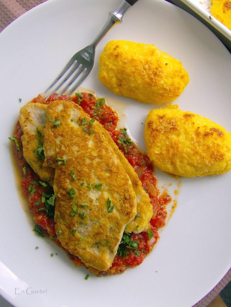 Piccata milanese con polenta