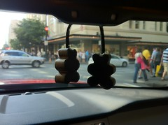 I got some bear-shaped, leather scented air freshened for my car.