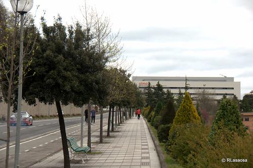 Bajada desde la Avenida de Pío XII al barrio de Echavacoiz.  A la derecha, el Campus de la Universidad de Navarra, y al fondo el edifico del CIMA