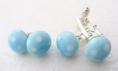 Blue Polka Dot His n Hers Set (Glittering Prize - Trudi) Tags: blue glass silver beads handmade polka jewellery earrings dots trudi lampwork cufflinks glitteringprize