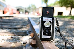 worms eye view {duaflex edition) (~Staci Lee~) Tags: train traintracks duaflex vintagekodak wormseyeviewsunday