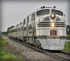 The One. (Lights (See you after the move!)) Tags: railroad train illinois engine zephyr locomotive passenger streamlined excursion e5 streamliner burlingtonroute cbq bureaucounty trainfestival chicagoburlingtonquincy silverpilot 9911a nebraskazephy