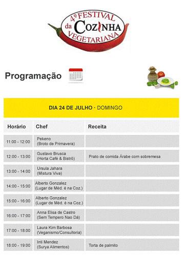 Programação - 4o Festival de Cozinha Vegetariana