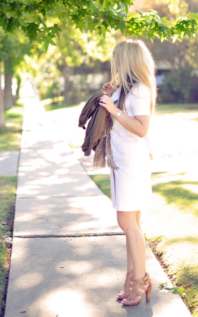 vintage white linen ralph lauren dress with neutrals