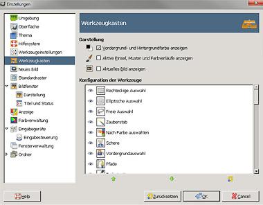 Werkzeuge ein und ausblenden in GIMP 2.8