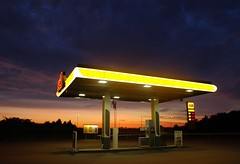 Gas station in limbo (yellowgreywolf) Tags: sunset sweden nikond50 gasstation deserted neonlight vrlens