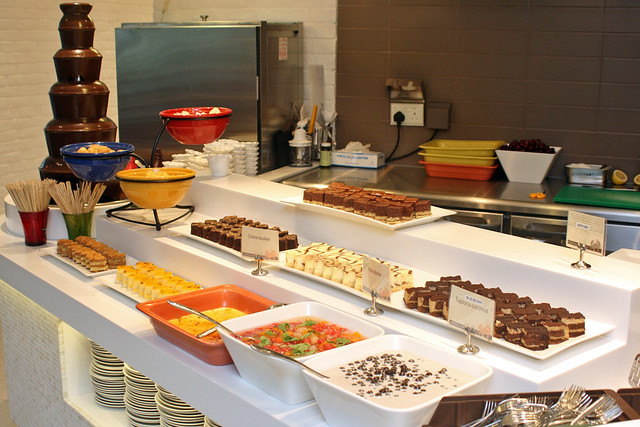The dessert station may be small but it's one of the better stops here!