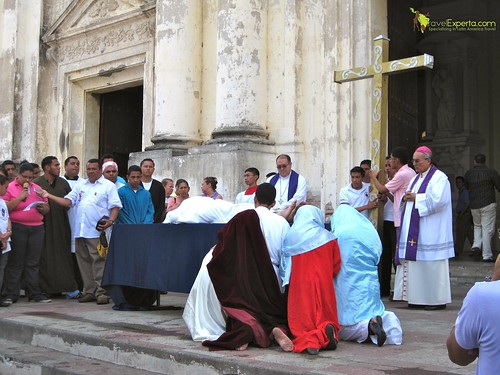Leon Nicaragua Cathedral Procession Reenactment Crucification