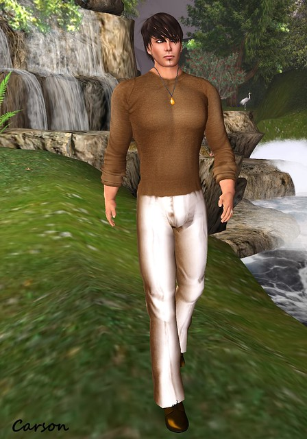 Wilson's Designs - Brown Scoop Neck Shirt and Tan Pants   ---  ASS - Orange Calcite Droplet Necklace