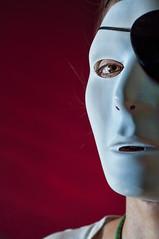 White Mask (d30n5) Tags: red oregon portland nikon mask sb600 gels eyepatch d90 nikkor50mm18 speedlights strobist topazadjust cactusv5 lumiprolp160