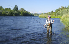 Jerry finished swinging run with spey rod at Touvelle Park, Rogue River