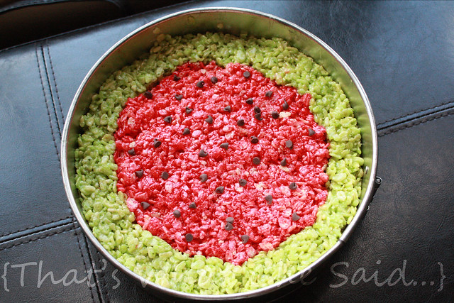 Use a Spring-form Pan for the greatest ease at getting the watermelon krispie treats out in one piece!