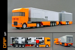 Remote controlled DAF XF with EuroCombi trailer (Robiwan_Kenobi) Tags: orange truck power lego awesome rc function pf daf lkw xf microscale robiwankenobi