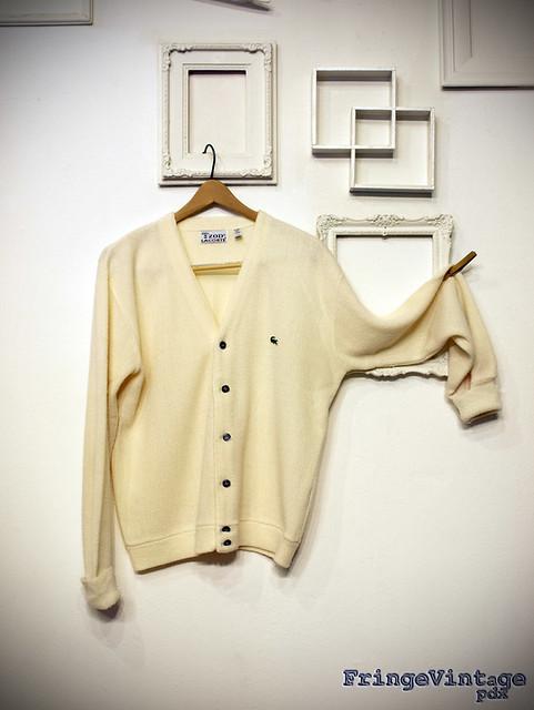 White Lacoste cardigan